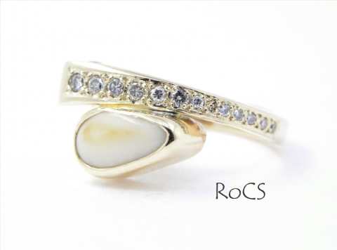 Bespoke ring with diamonds and deer tooth image